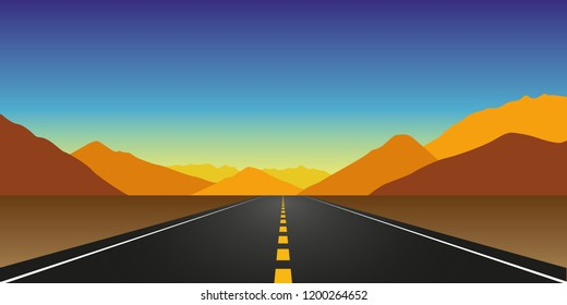 straight asphalt road in autumn in the mountains landscape vector illustration EPS10