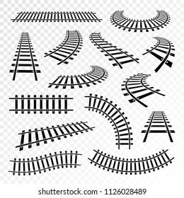 Straight and curved rails icon set. Railroad train runs on, steel bars laid forming a railway track. Vector black signs railway isolated from background.