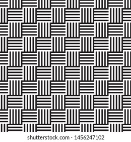 Straight geometric lines assembled into squares, background black and white lines, vector.