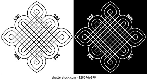 Straight Lines with Flower curves - Indian Traditional and Cultural Rangoli, Alpona, Kolam or Paisley Vector art with Dark and White background