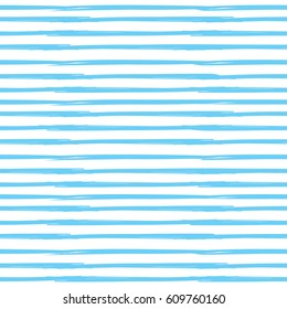 Straight, parallel lines blue and white backgground. Grunge linear backdrop. Vector seamless pattern, variable width stripes.