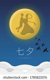 Straight poster, cartoon illustration of the shadow of the Cowherd and the Weaver Girl, subtitle translation: Tanabata, which can be read as Tanabata, July 7