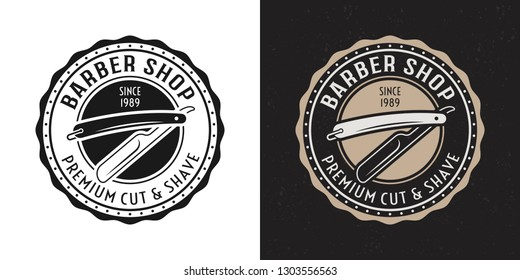 Straight razor vector two style black and colored vintage round badge, emblem, label or logo for barbershop on white and dark background