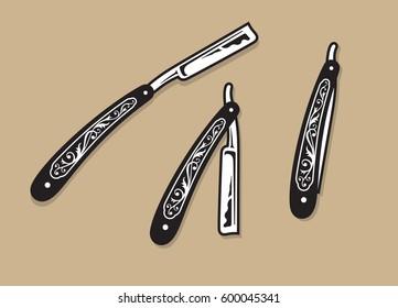 Straight Razors.  Set of three vintage ornate straight razor vector illustrations.