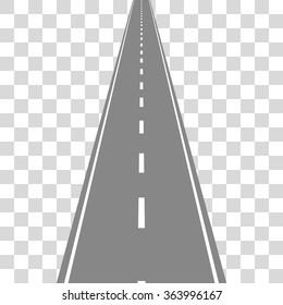 Straight Road on transparent grid. Travel concept vector illustartion