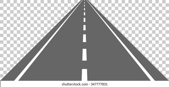 Straight road with white markings. Vector illustration