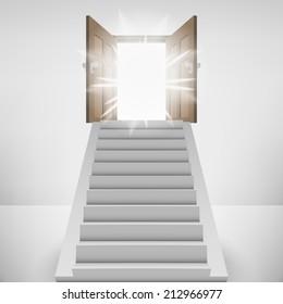 straight stairway leading to heaven door flare vector illustration