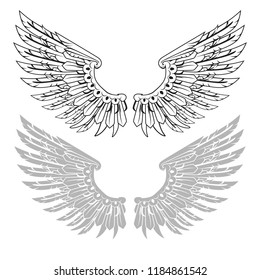 Straightened wings in linear and stamp versions. Vector illustration.