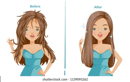 straightening hair of woman. before and after straightening. difference is obvious. comparative, positive and negative emotions. Happy, stress. Smile and scowl.  Illustrations for styling and product.