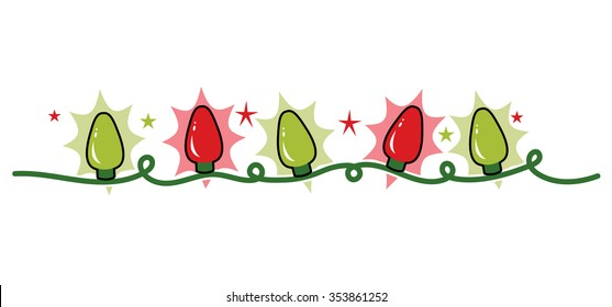 Strand string of holiday Christmas lights, red and green