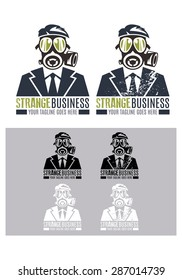 Strange Business vector logo template, a logo template representing a businessman wearing a gas mask, a modern logo suitable for multiple business.