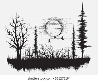tree tattoo images  stock photos   vectors shutterstock Owl Clip Art Black and White Owl Clip Art Black and White