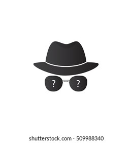 Strange person in a hat and dark glasses. Spy. Vector icons for search engine.