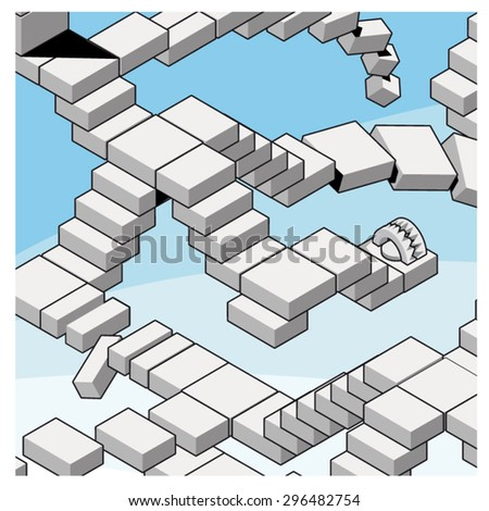 Strange Staircase Going Down Midair Isometric Stock Vector Royalty
