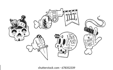 Strange and unusual signs with skulls and weapons. Hands holding pistol, knife and a cigar with tattoos. Thugs and killers badges collection in the wild west theme. Cool skater and hipster stickers.