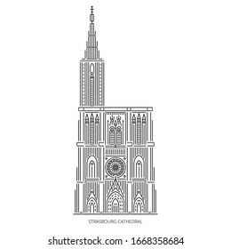 Strasbourg Cathedral - famous landmark of Strasbourg, Alsace, France. Monument of Catholicism and early Gothic architecture. Linear style outline vector illustration on white background