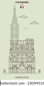 Strasbourg Cathedral, France. Landmark icon in linear style