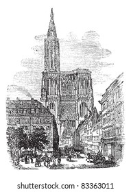 Strasbourg Cathedral or Cathedral of Our Lady of Strasbourg in Strasbourg, France, during the 1890s, vintage engraving.  Trousset encyclopedia (1886 - 1891).