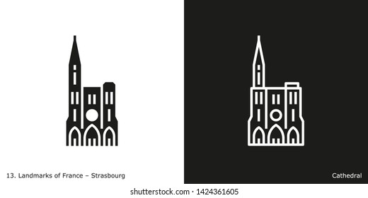 Strasbourg Cathedral. Outline and glyph style icons of the famous landmark from France.