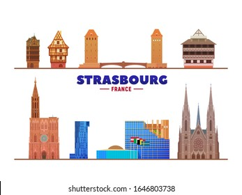 Strasbourg (France) city landmarks at white background. Flat vector illustration. Business travel and tourism concept with modern buildings. Image for banner or web site.