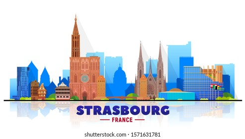 Strasbourg (France) city skyline vector at white background. Flat vector illustration. Business travel and tourism concept with modern buildings. Image for banner or web site.