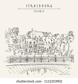 Strasbourg, France, Europe. Bridge, trees and old houses. Cozy European town. Hand drawing in retro style. Travel sketch. Vintage hand drawn touristic postcard, poster or book illustration in vector