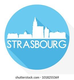 Strasbourg France Flat Icon Skyline Silhouette Design City Vector Art