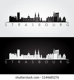 Strasbourg skyline and landmarks silhouette, black and white design, vector illustration.