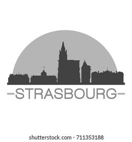 Strasbourg Skyline Silhouette Design City Vector Art