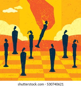 Strategic Management Decisions A large hand moving business people to strategic locations on a chess board.
