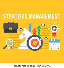 Strategic management flat illustration. Creative flat design concepts and elements for web sites, printed materials, web banners, infographics. Modern vector illustration