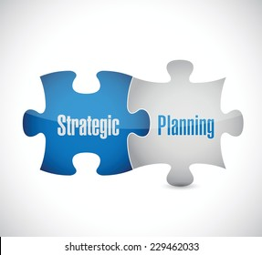 strategic planning puzzle pieces illustration design over a white background