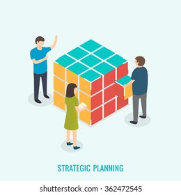 Strategic planning, Teamwork concept. Isometric 3d vector
