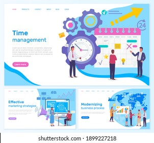 Strategic planning and time management business concept webpage set. Modern planning innovations landing page template. Effective marketing strategies, modernising business process, successful project