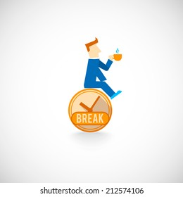 Strategic work day planning time management symbol flat icon with employee coffee break symbol abstract vector illustration