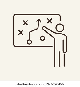 Strategist line icon. Manager, speaker, graph. Strategy concept. Vector illustration can be used for topics like presentation, marketing, analysis