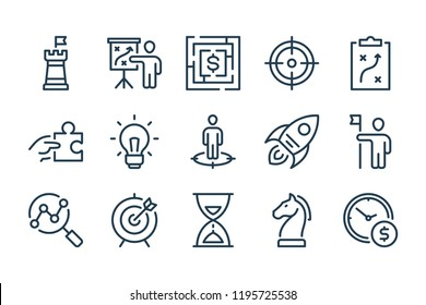 Strategy and action line icons. Vector linewar icon set.