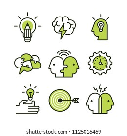 Strategy, brainstorming, solutions and inventions design, vector icons set for info graphics, websites and print media.