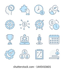 Strategy, Business analytics and Marketing startup related blue line colored icons.