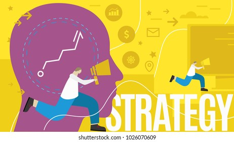 Strategy business vector illustration on yellow background