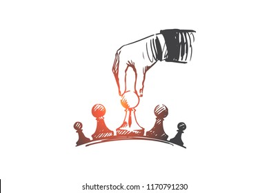 Strategy, businessman, tactics, superiority concept. Hand drawn businessman's hand playing chess concept sketch. Isolated vector illustration.