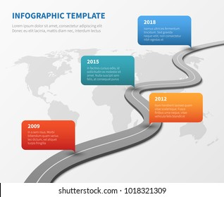 Strategy chronological road map. Business vector timeline roadmap strategy, process and structure organization illustration