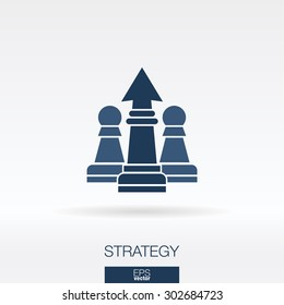Strategy concept icon. Chess and arrow up symbol. Vector logo illustration