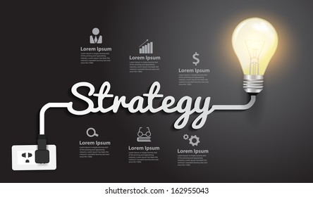 Strategy concept modern design template, Creative light bulb idea abstract infographic workflow layout, diagram, step up options, Vector illustration