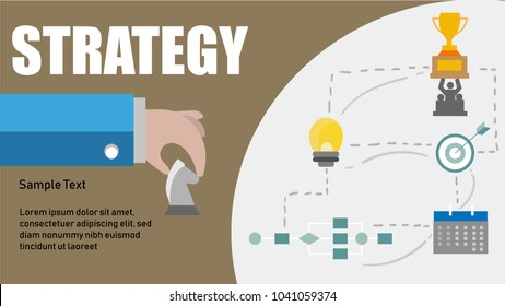 Strategy Development Goal Marketing Vision Planning Business Concept with chess,bulb,flowchart,planner and trophy.Business concept.