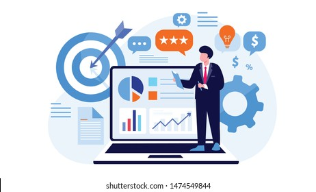 Strategy digital marketing system,  achievement targeting market flat design vector illustration.