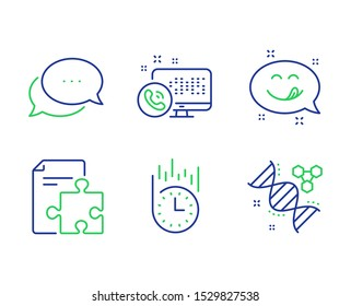 Strategy, Dots message and Web call line icons set. Yummy smile, Fast delivery and Chemistry dna signs. Puzzle, Chat bubble, Phone support. Emoticon. Technology set. Vector
