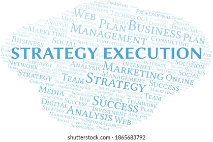 Strategy Execution word cloud create with text only.