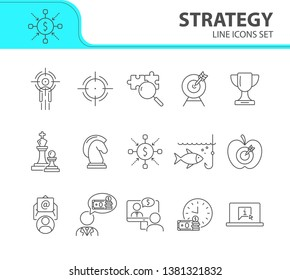 Strategy icon set. Line icons collection on white background. Goal, game, achievement. Start-up concept. Can be used for topics like business, development, targeting