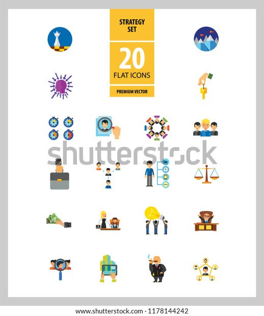 Strategy Icon Set Team Structure Common Stock Vector